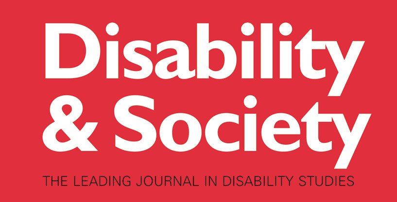 Logo for Disability & Society: The Leading Journal in Disability Studies. White and black text on red background.
