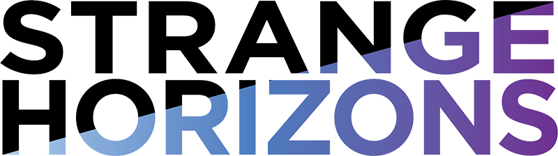Logo for Strange Horizons. Black and dark blues and purples.